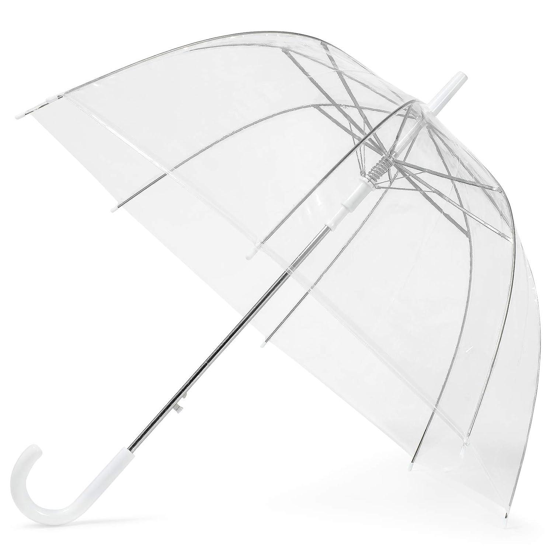 GadHome Parapluie Transparent | Parapluie translucide | Parapluie transparent | Parapluie de mariage avec une poignée en forme de C | Semi-automatique | blanc