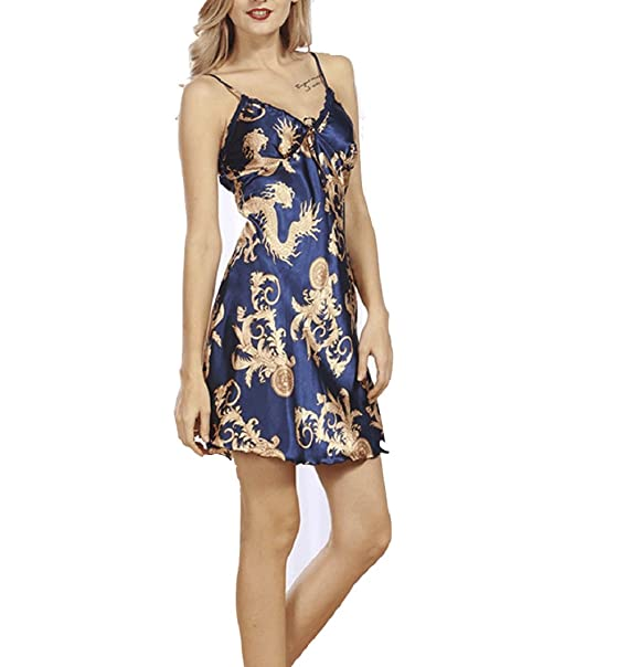 FuweiEncore Mujer Ropa de Dormir Sexy Primavera/Verano Cuello V Pijama Tirante de Satén: Amazon.es: Ropa y accesorios