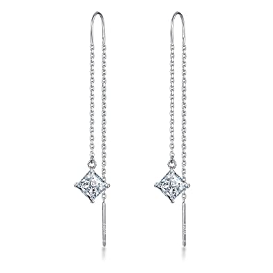 Meyiert 925 Sterling Silver and Zirconia Needle Drop Threader Pull Through Earrings for Womens DBCUbvr