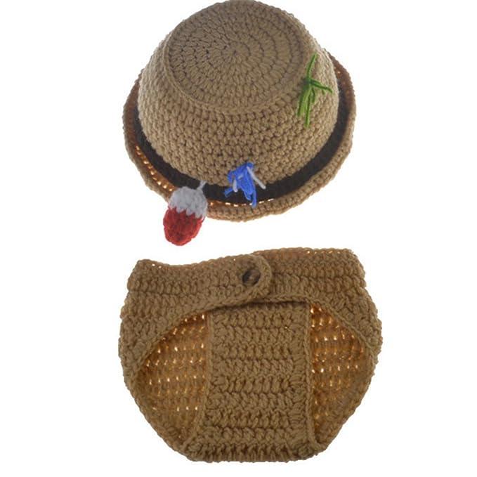 ec0337acd672e Amazon.com: Baby Newborn Handmade Crochet Photography Props Fishing  Fisherman Costume Outfit Fish Hat Diaper: Clothing