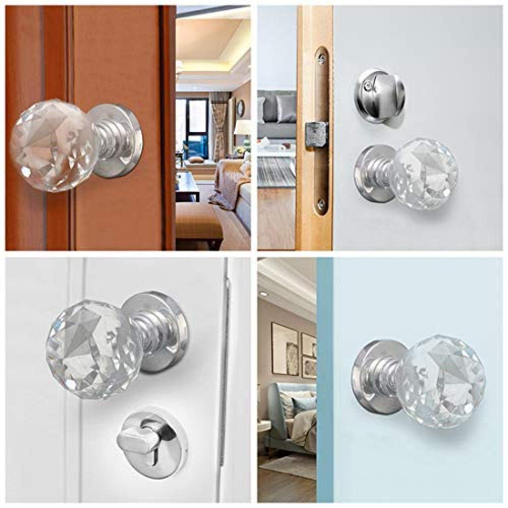 2 Pack Crystal Door Knobs 60mm Diamond Pull Handle Clear Glass Door Knob Solid Round Crystal Cut Faceted with Screw and Accessories for Doors