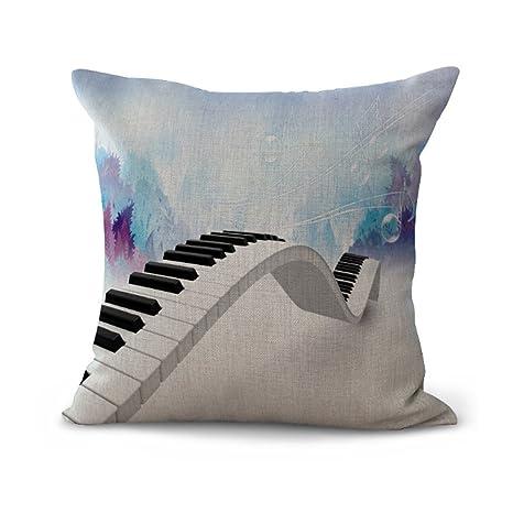 Hengjiang Funda de cojín de color Nota instrumento piano saxofón guitarra eléctrica violín creativo arte funda