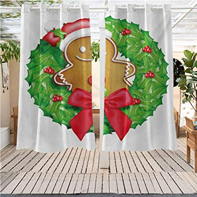 Outdoor Curtains Gazebo Outdoor Window Panels Christmas Decoration Gingerbread Man Cartoon Christmas Wreath Pergola Indoor Outdoor Waterproof (52W X 45L) : Garden & Outdoor