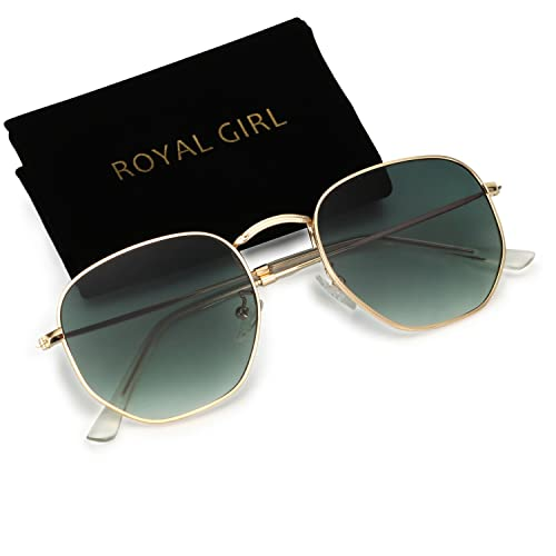 128faf5fce ROYAL GIRL Classic Oval Polygon Women Sunglasses Small Metal Frame Retro  Brand Designer Men Sun Glasses