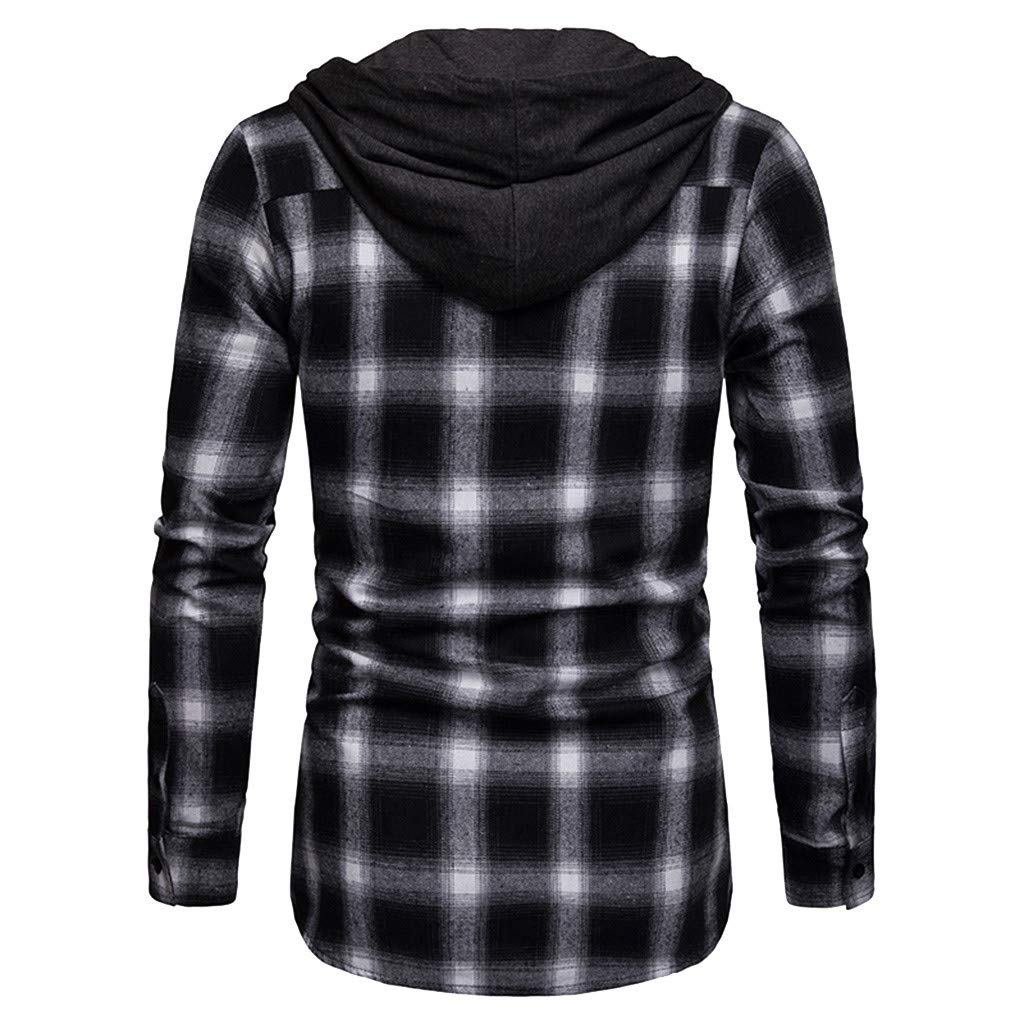 Sunmoot 2019 Spring Hoodie Plaid Shirts for Mens Long Sleeve Casual Top Blouse