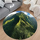 Nalahome Modern Flannel Microfiber Non-Slip Machine Washable Round Area Rug-iew of Jungle Forest on the Mountains Tropical Exotic Hawaii Nature Look Green Blue White area rugs Home Decor-Round 71''