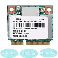 Tosuny Tarjeta WiFi Portatil Tarjeta de Red, WiFi Mini PCI-E Tarjeta inalámbrica Doble Banda inalámbrica 2.4G / 5GHz AR5B22 300 Mbps Bluetooth 4.0