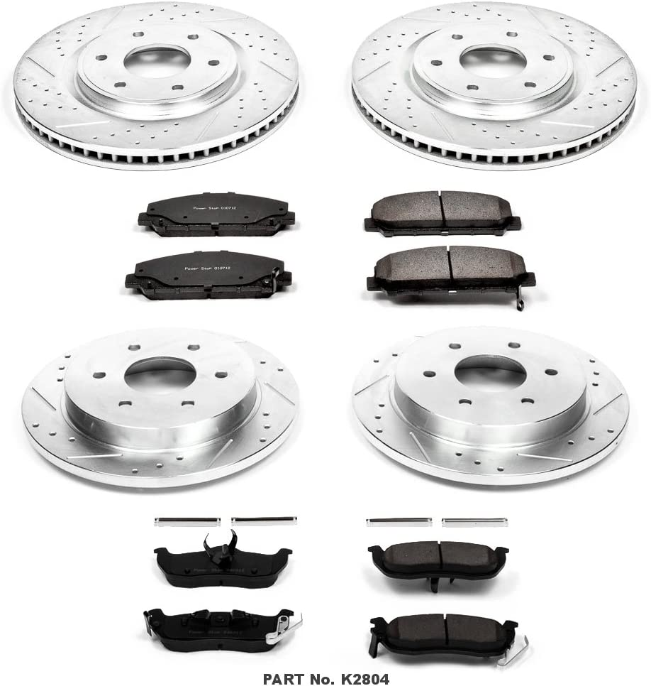 Power Stop K2804 Front /& Rear Brake Kit with Drilled//Slotted Brake Rotors and Z23 Evolution Ceramic Brake Pads