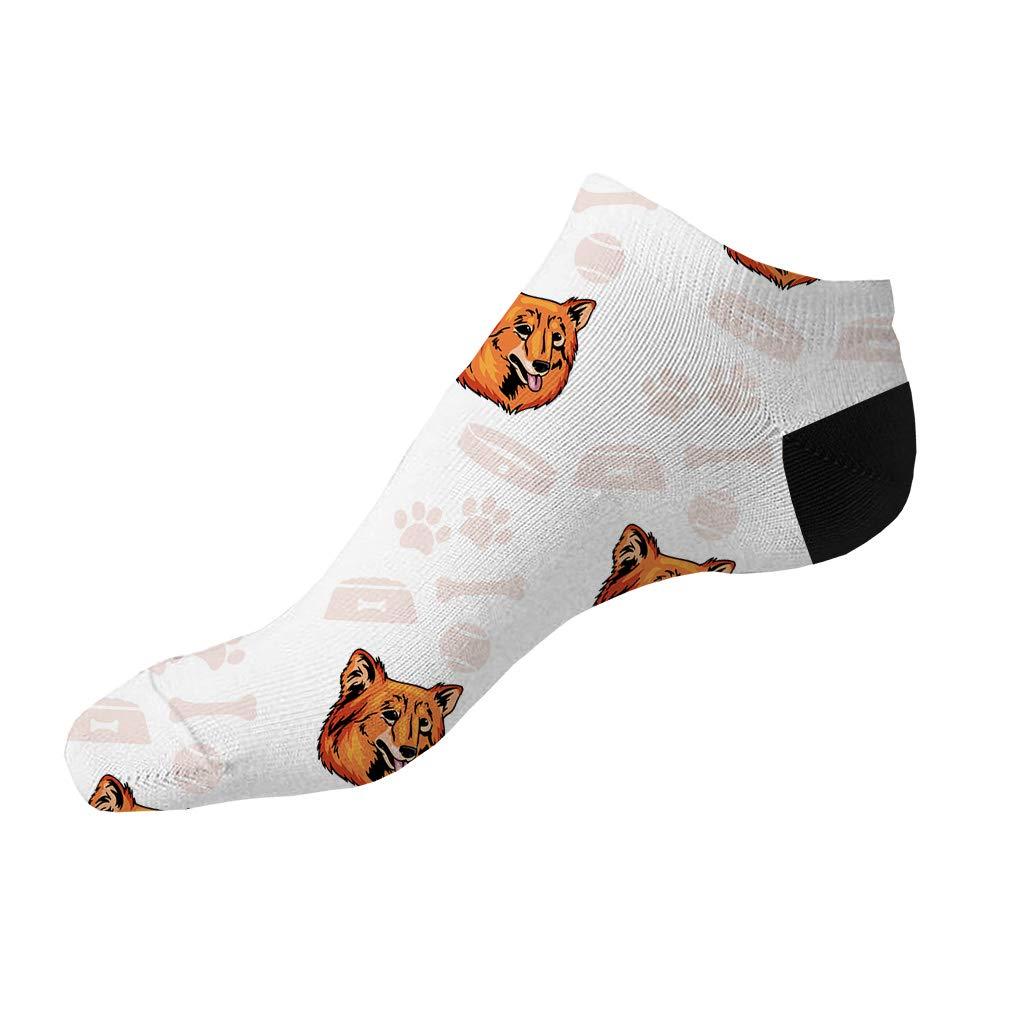 Finnish Spitz Dog Pattern Men-Women Adult Ankle Socks Crazy Novelty Socks