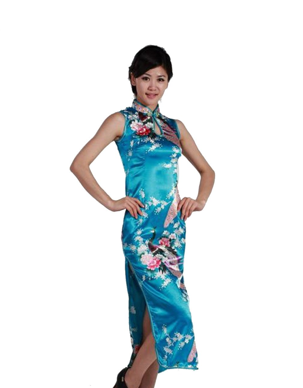 Jtc Women's Chinese Silk Peacock Long Cheongsam Dress (xx-large, blue) by Jtc (Image #1)