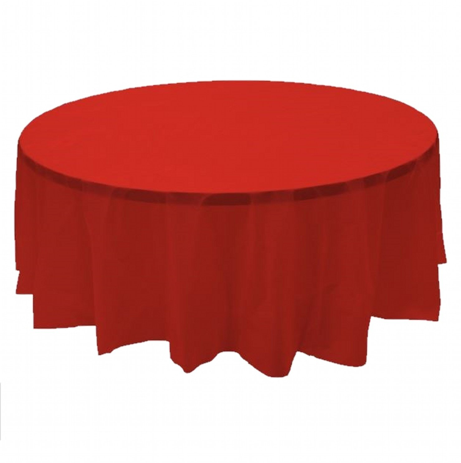 24 pcs (1 case) of Plastic Heavy Duty Premium Round tablecloths 84'' Diameter Table Cover - Red by CC