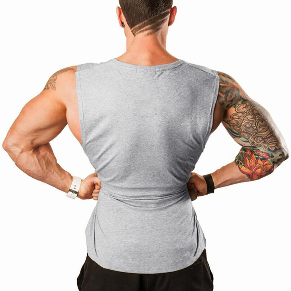 STORTO Mens Fitted Camouflage Elastic Workout Tank Tops Gym Bodybuilding T-Shirts