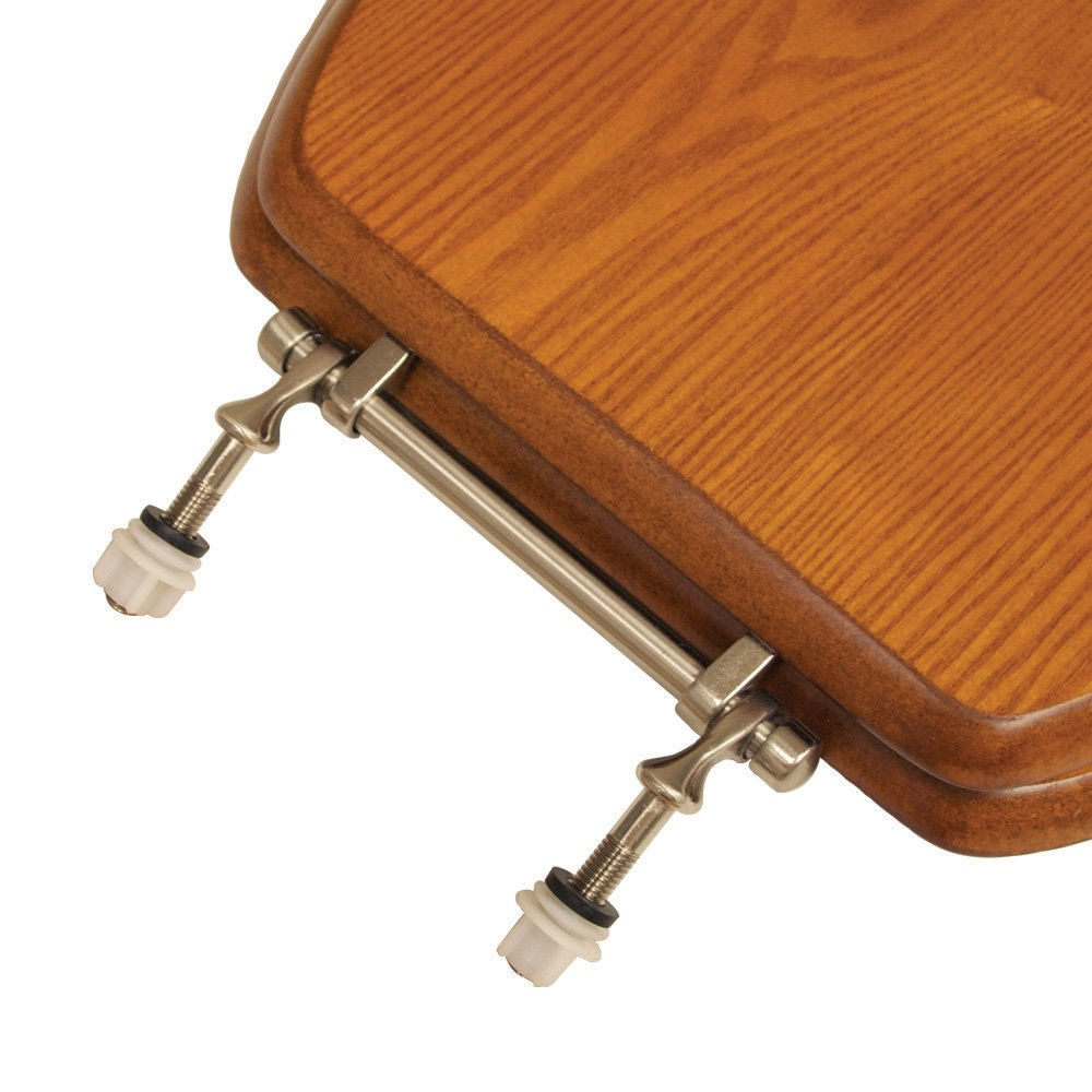Comfort Seats C1B2E1-15BN Decorative Oak Wood Elongated Toilet Seat with Brushed Nickel Hinges American Cherry C3B2E115BN