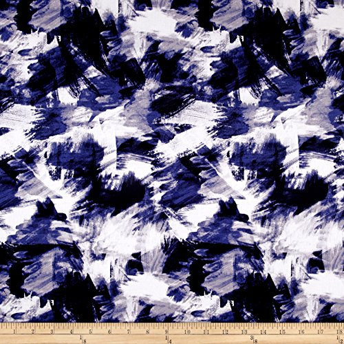 Telio Bloom Stretch Sateen Brush Strokes Print Blue Fabric By The Yard (Cotton Stretch Sateen Fabric)