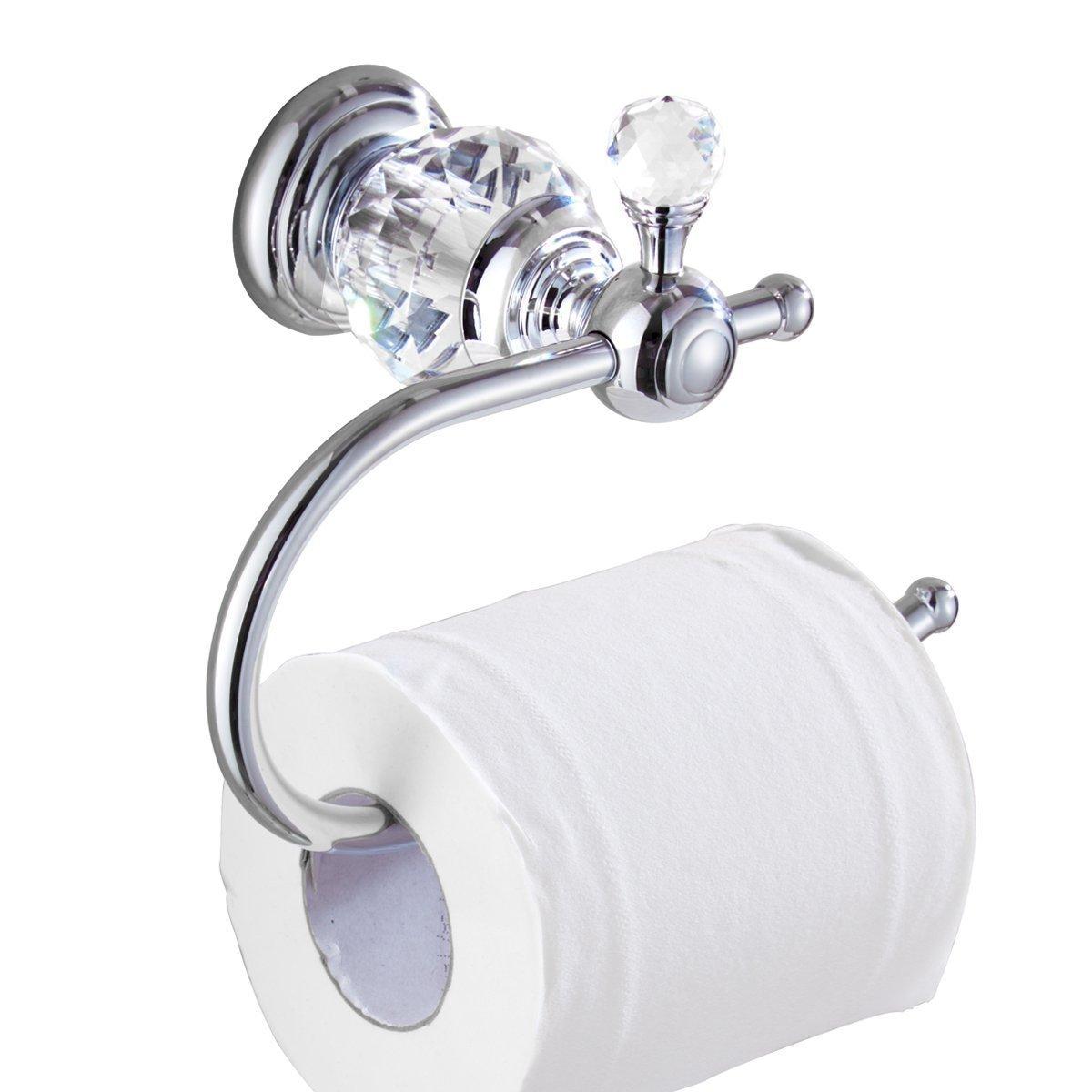 Kabter Crystal Series Brass Toilet Paper Roll Holder, Polished Chrome