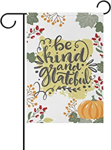 VIKKO Be Kind and Grateful Garden Flag Small Yard Flag Double-Sided Welcome Polyester Yard Banner for Outdoor Home Decor - 12 x 18 Inch