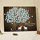 Personalized Wood Sign Wedding Guest Book Rustic Tree Guestbook Wedding Christmas Deer Wedding Decorations Custom Wedding Guest Book Alternative Wooden Book Retro Wedding Gift 150 Leaves Ready to Hang