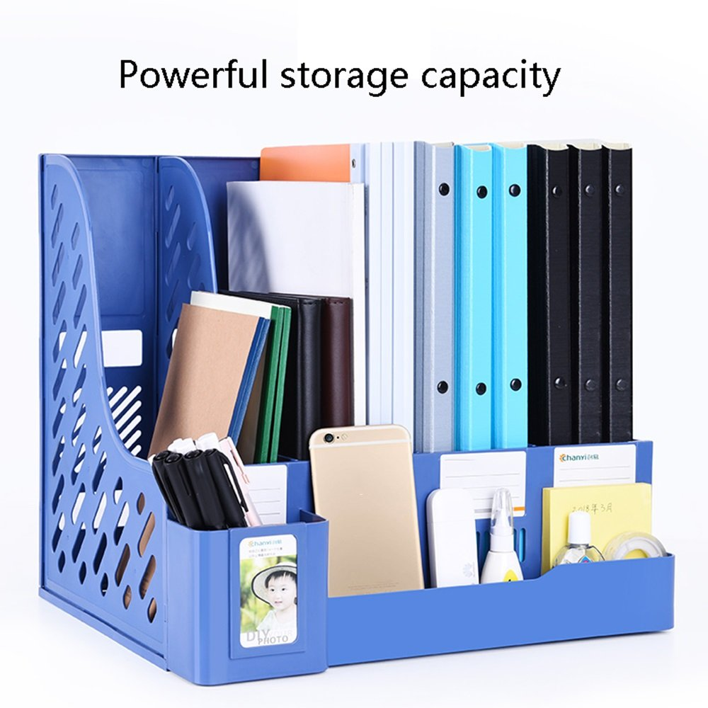 Amazon.com : ZDDAB File Holder 4 Column Office Storage Box A4 Folder Student Locker Storage Box Organize Basket (Blue, Black, Gray) (Color : Blue, ...