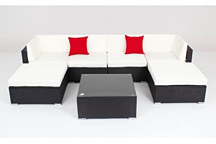 Amazon.com: Muebles de jardín de mimbre de ratán – Sofá 7 ...