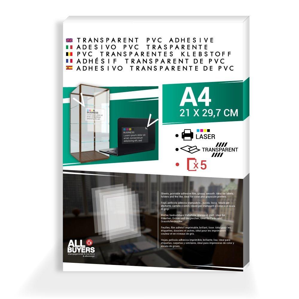 Papel Adhesivo PVC Vinilo HD A4 transparente brillante para ...