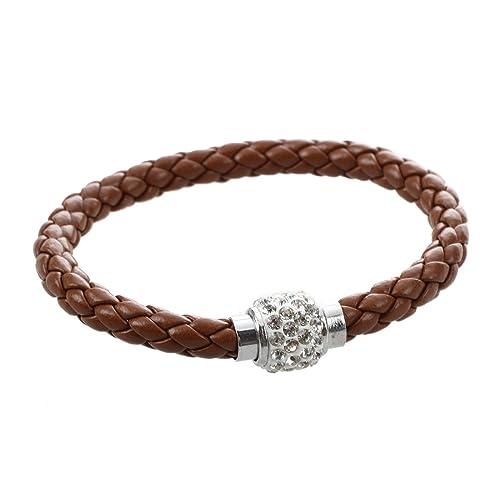 3218ae224252b SODIAL(R) Bracelet tresse en cuir de boule de cristal cadeau pour homme