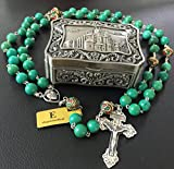 elegantmedical XL 10MM Turquoise Tibet Copper Bead Sterling 925 Silver Rosary Necklace Catholic Gift