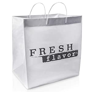 [10 Pack] Reusable Plastic Shopping Bags with Handles - 14 x 15 Inch White Merchandise Bag, Foldable, Heavy Duty 2.5 Mil Thick for Grocery Food Take Out, Gift, Boutique, Bakery, Clothing and Shipping