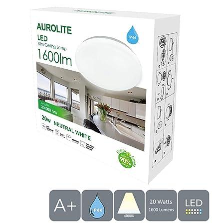 AUROLITE LED Super Slim 20W IP44 Lámparas de techo, Ø 29cm, 4000K, 1600LM, Impermeable, Iluminación para baño, Cocina, Recibidor, Oficina, Lámparas de ...