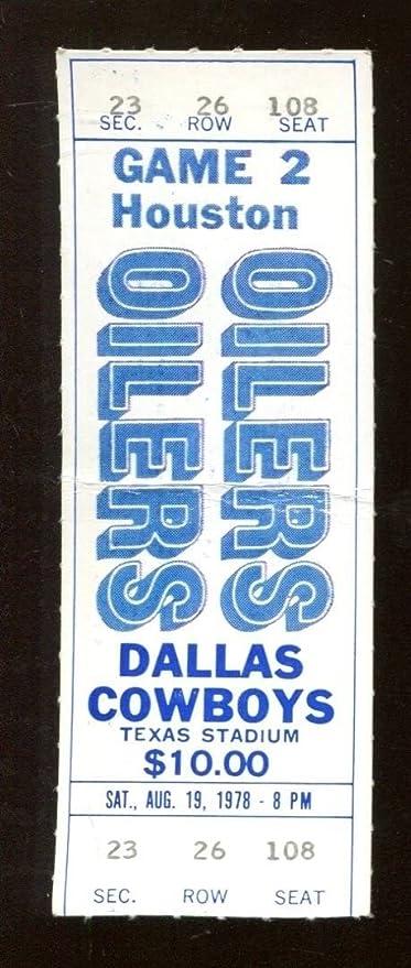 1978 Dallas Cowboys v Oilers Full Ticket 819 Texas Stadium Earl