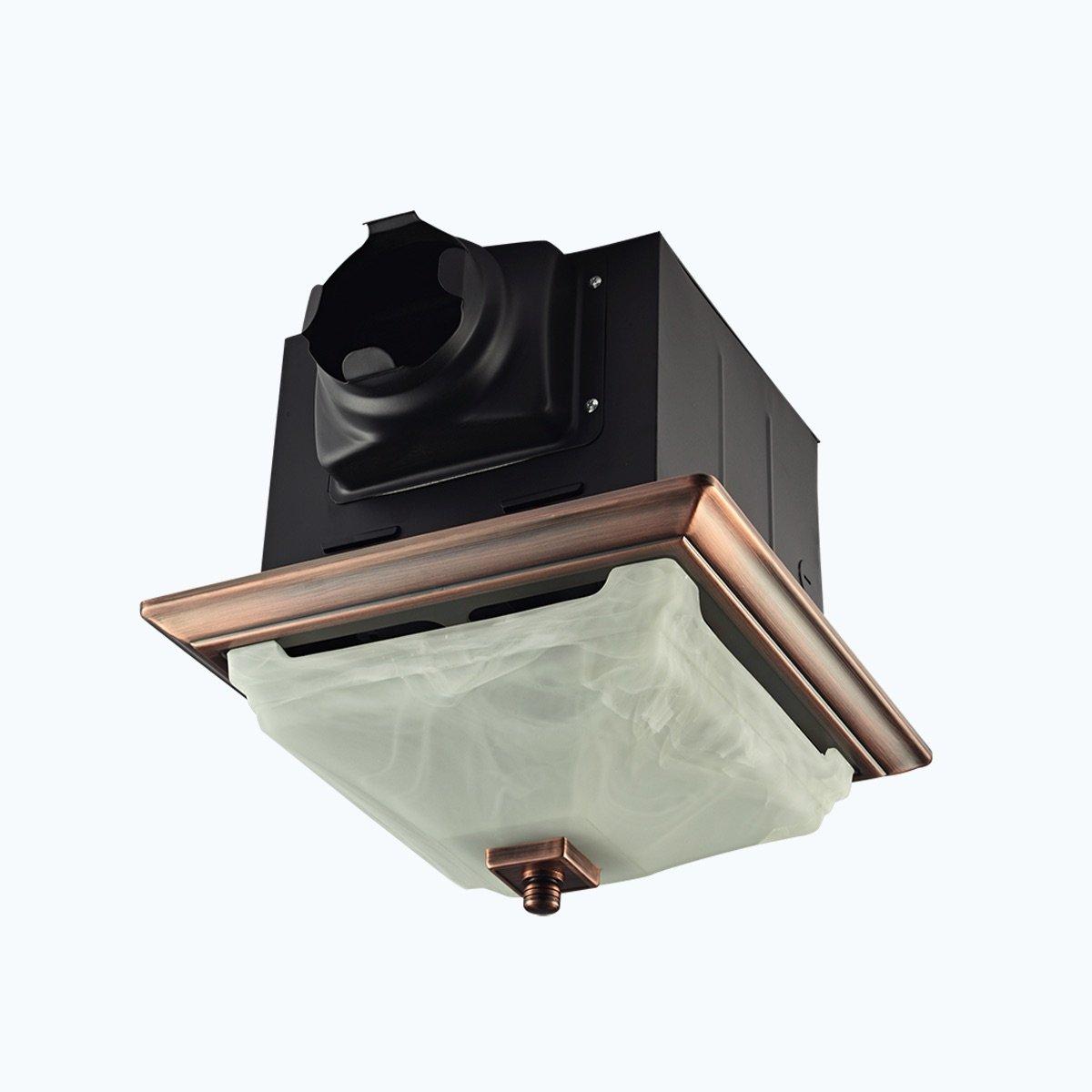 Lift Bridge Kitchen & Bath DSQR110ORB Decorative Oil Rubbed Bronze 110CFM Ceiling Light and Glass Globe Exhaust Bath Fan