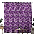 NUOMANAN Curtains 84 inch Length Retro,Vintage Trippy Pattern with Inner Circles and Squares Kitsch Ornamental Urban Style,Lilac Purple,Modern Farmhouse Country Curtains