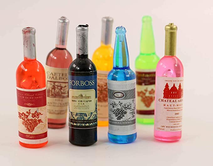 nanguawu Dollhouse Miniature Drinks Alcohol Beverage Party Wine Swizzle 7pieces