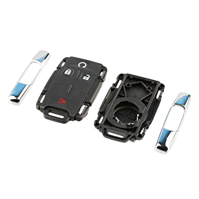 Chrome Key Fob Keyless Entry Remote Shell Case & Pad fits Chevy Silverado Colorado / GMC Sierra Canyon 2014 2015 2016 2020 (M3N-32337100): Automotive