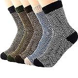 Zando 5 Pack Men's Soft Warm Thick Knit Wool Cozy Crew Socks Casual Fall Winter Socks
