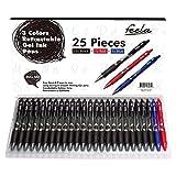 Feela 25-Piece Retractable Premium Black Gel Ink Roller Ball Pens with Comfort Grip (23 black + 1 red + 1 blue ink)