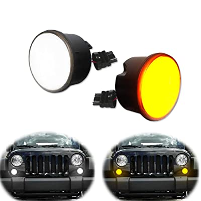 GTINTHEBOX LED Front Turn Signal Light Smoked Lens Amber/White Flasher for 2007-2020 Jeep Wrangler JK Unlimited - No Logo: Automotive