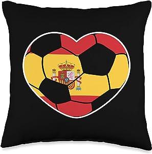 National Team Flag Soccer Ball Love Shape Designs Spain Soccer Ball Heart Jersey-Spanish Football Gift Throw Pillow, 16x16, Multicolor