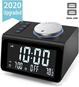 【Upgraded】 Digital Alarm Clock, with FM Radio, Dual USB Charging Ports, Temperature Detect, Dual Alarms, Snooze, 5-Level Brightness Dimmer, Batteries Operated, for Bedroom, Small Sleep Timer