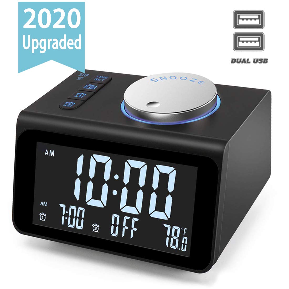 【Upgraded】Digital Alarm Clock, with FM Radio, Dual USB Charging Ports, Temperature Detect, Dual Alarms, Snooze, 5-Level Brightness Dimmer, Batteries Operated, for Bedroom, Small Sleep Timer 61hiyyg23ML
