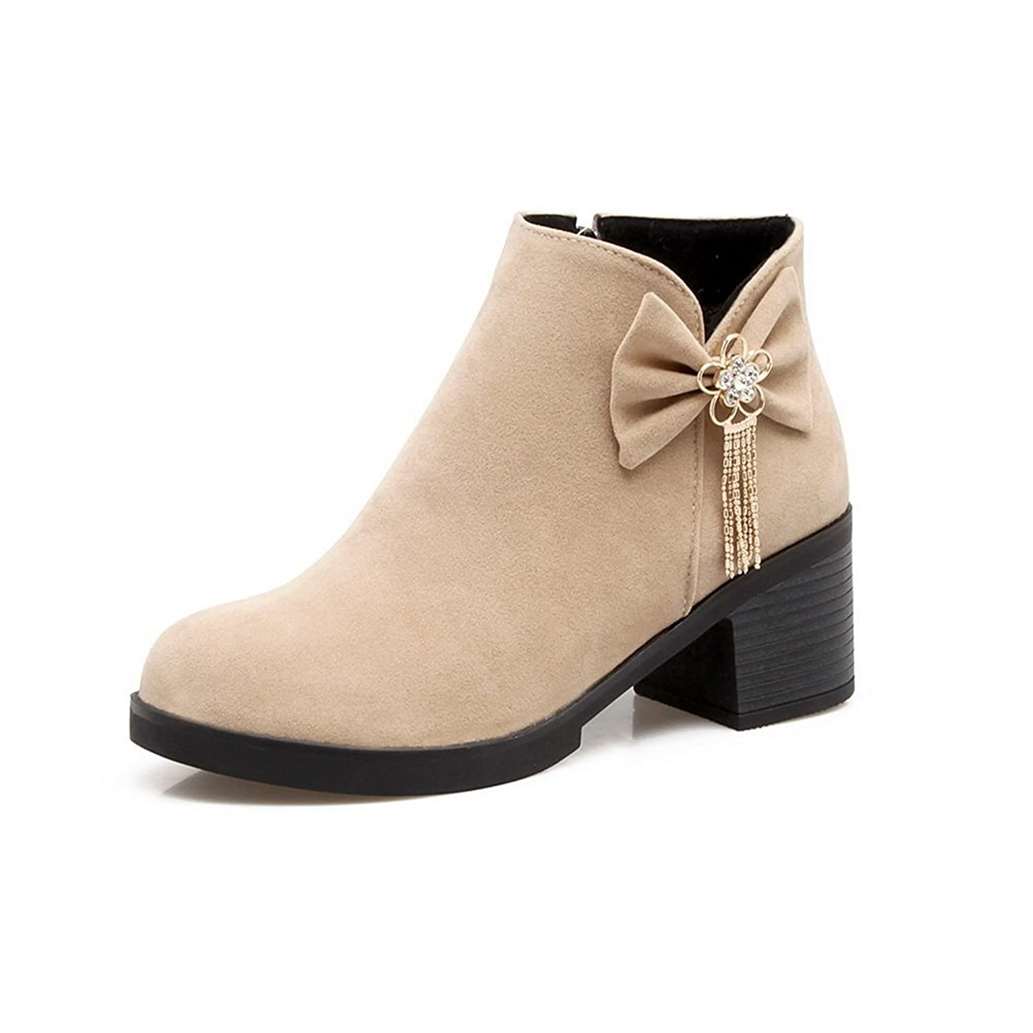 AdeeSu Womens Ankle-High Chunky Heels Retro Bows Suede Boots SXC02435
