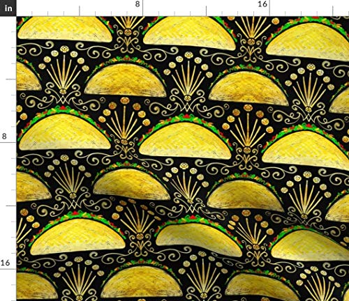 (Spoonflower Art Fabric - Tacos Taco Taco Burning Bright Art Deco Mexican Food Kitchen Decor Mexico Print on Fabric by The Yard - Petal Signature Cotton for Sewing Quilting Apparel Crafts Decor)
