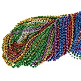 96-Piece Mardi Gras Bulk Bead Set for Outfit Costume Wear, Games, Decoration, Party Favors - Red, Green, Yellow, Blue, Purple and More
