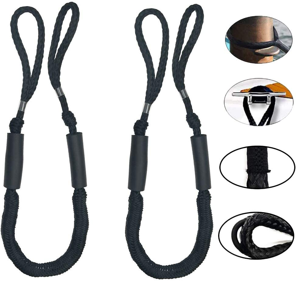 Power Boat/  Jet ski PWC Kayak Canoe Bungee Dock Line Mooring Rope,2 Pack Black Boat Lines of 4 ft Perfect for Boat Pontoon
