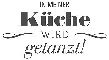 Wandtattoo Spruch In meiner Küche Wird getanzt Spruch lustig Wandaufkleber  Wan