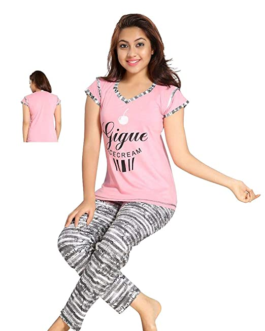 TWGE Night Suit for Kids - Pink Top and Pyjama Set - Printed Tshirt and Pyjama  Set for Children - Soft Cotton Material ... b6ecbb332