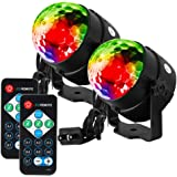 Litake ステージライト カラフル水晶魔球LED スポットライト リモコン付き ミラーボール 音声起動 自走機能 RGB多色変更 ステージ/パーティー/カラオケ/ディスコ/クラブ/バー/舞台照明(2個セット)