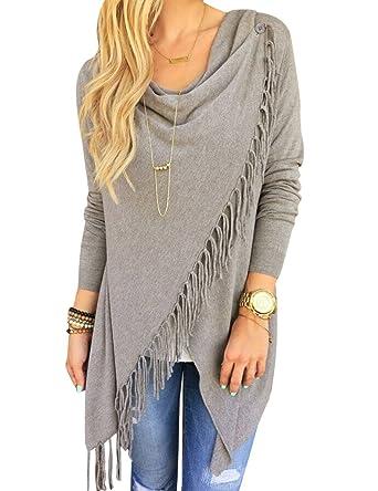 8e331517016 Women Long Sleeve Knitted Cardigan Loose Sweater Outwear Jacket tassels Coat