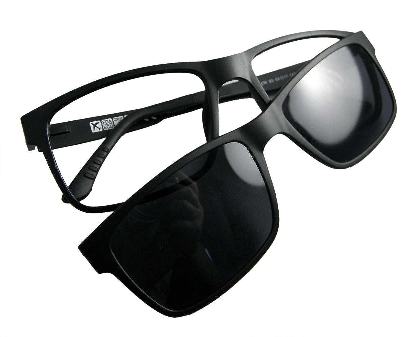 1d18337367 Amazon.com  Circleperson Men Eyeglass frame polarized clip on sunshade  magnetic glasses 54-17 (Black+print lens