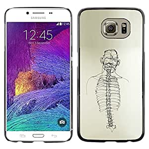 Colorful Printed Hard Protective Back Case Cover Shell Skin for Samsung Galaxy S6 / SM-G920 / SM-G920A / SM-G920T / SM-G920F / SM-G920I ( Skeleton Spine Art Black White Pencil Drawing )