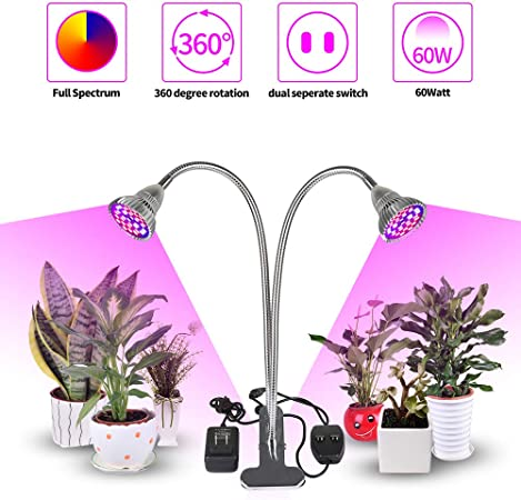 LED Plant Grow Light Lamp Dual Head For Indoor Greenhouse Flower Seed Gardening